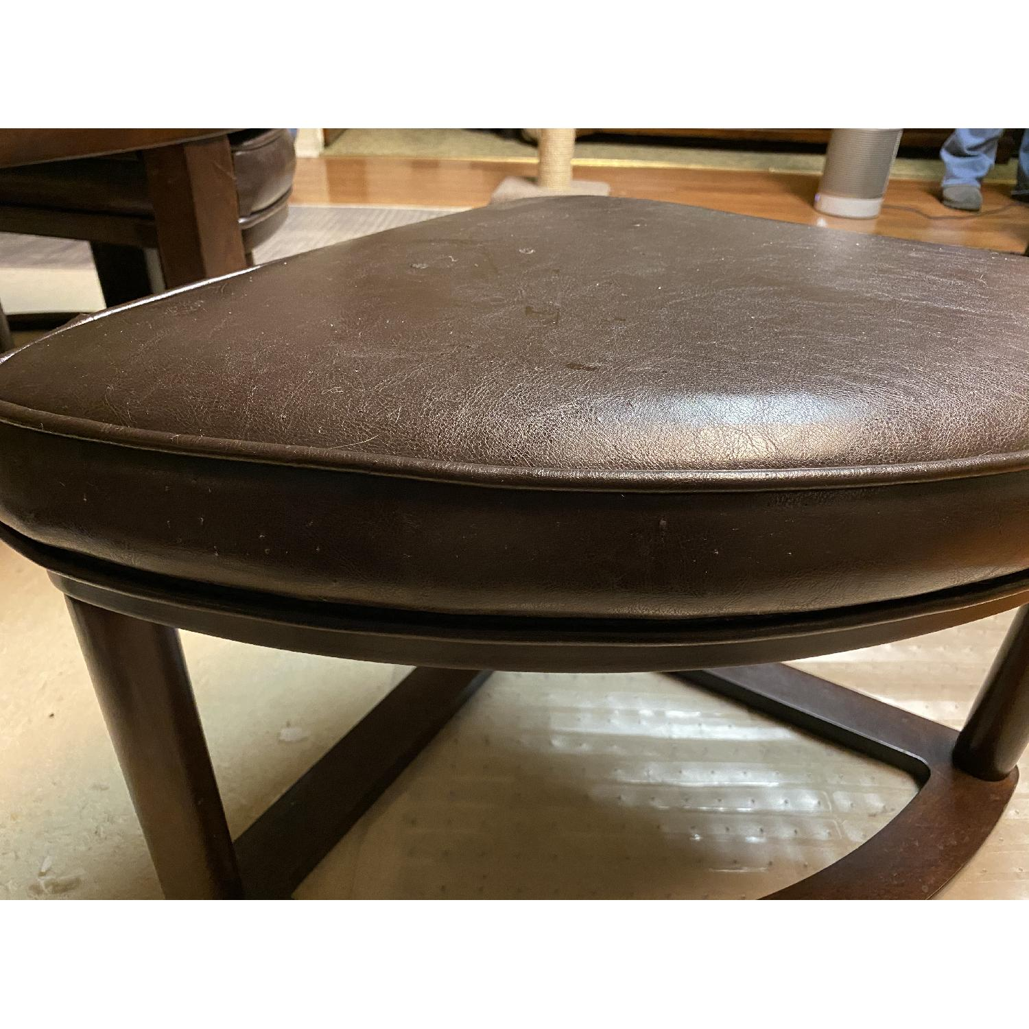 Round Glass Top Coffee Table w/ 4 Ottomans - image-12