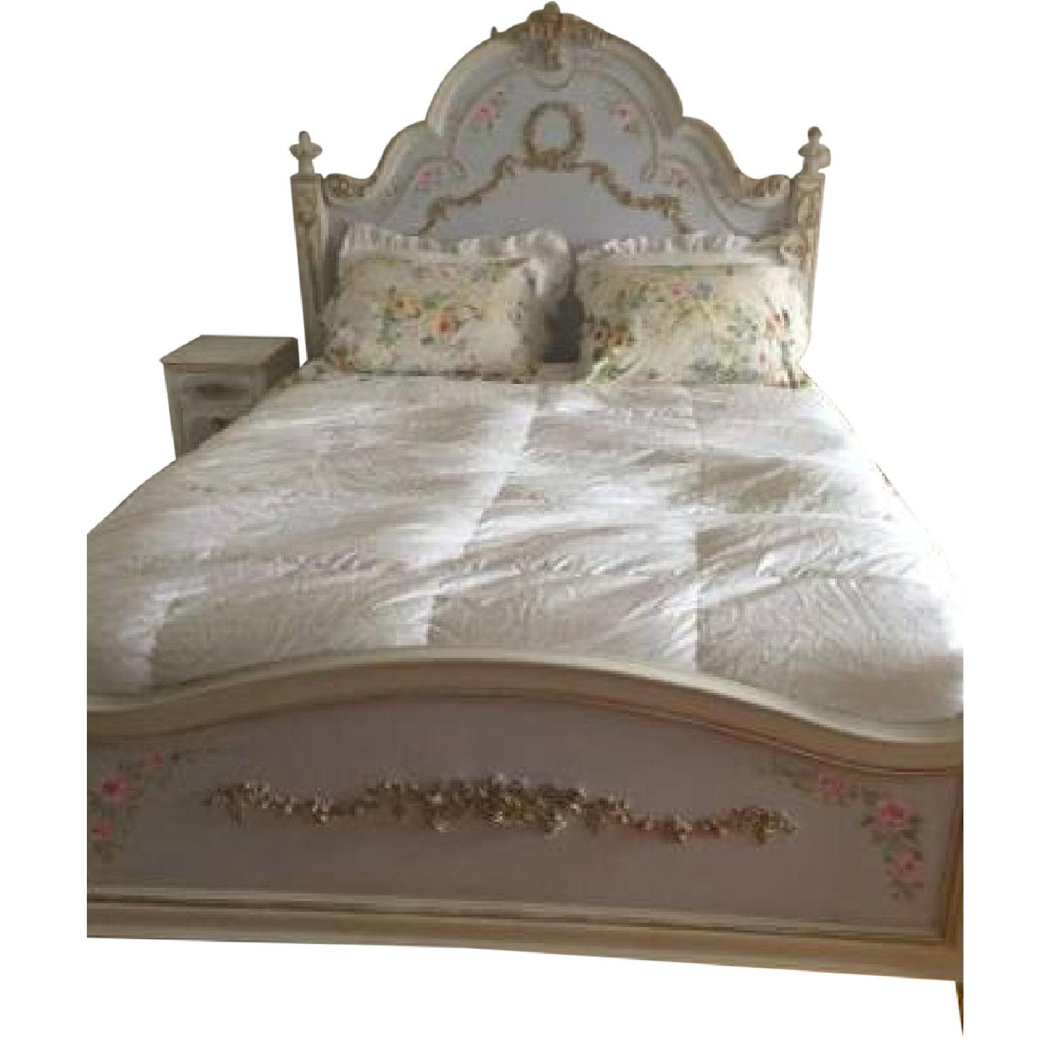 Custom Painted French Theme Queen Bed - image-0