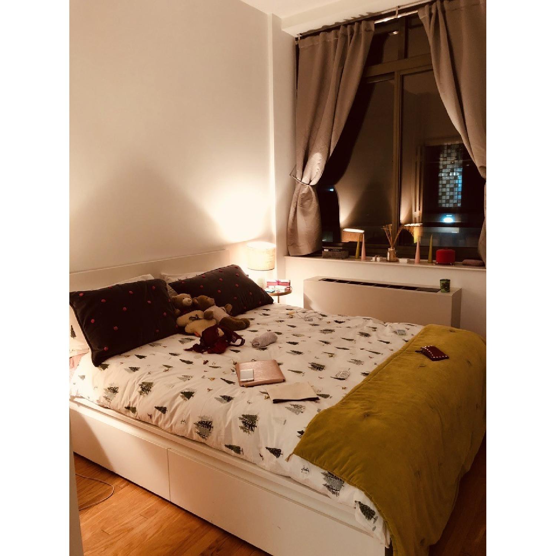 Admirable Ikea Malm White High Bed Frame W 4 Storage Boxes Aptdeco Customarchery Wood Chair Design Ideas Customarcherynet