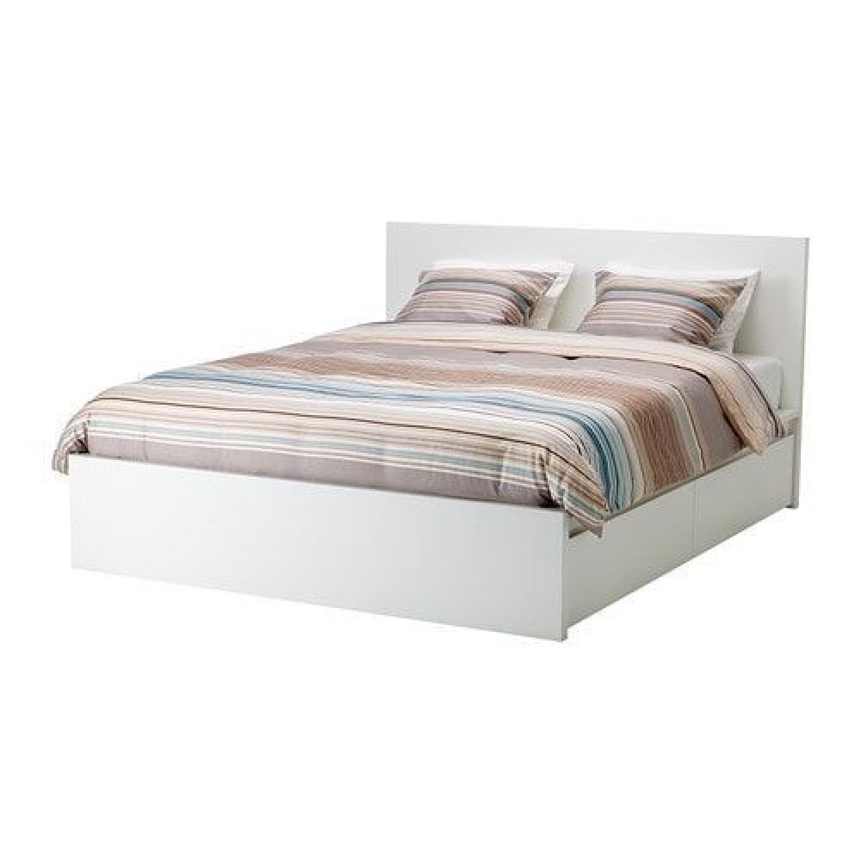 Ikea Malm White High Bed Frame W/ 4 Storage Boxes   AptDeco