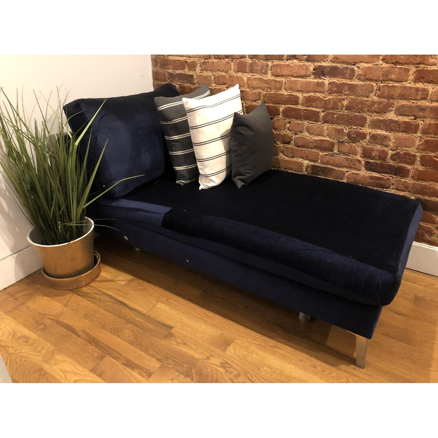 Ikea Custom Covered Midnight Blue Chaise - image-1