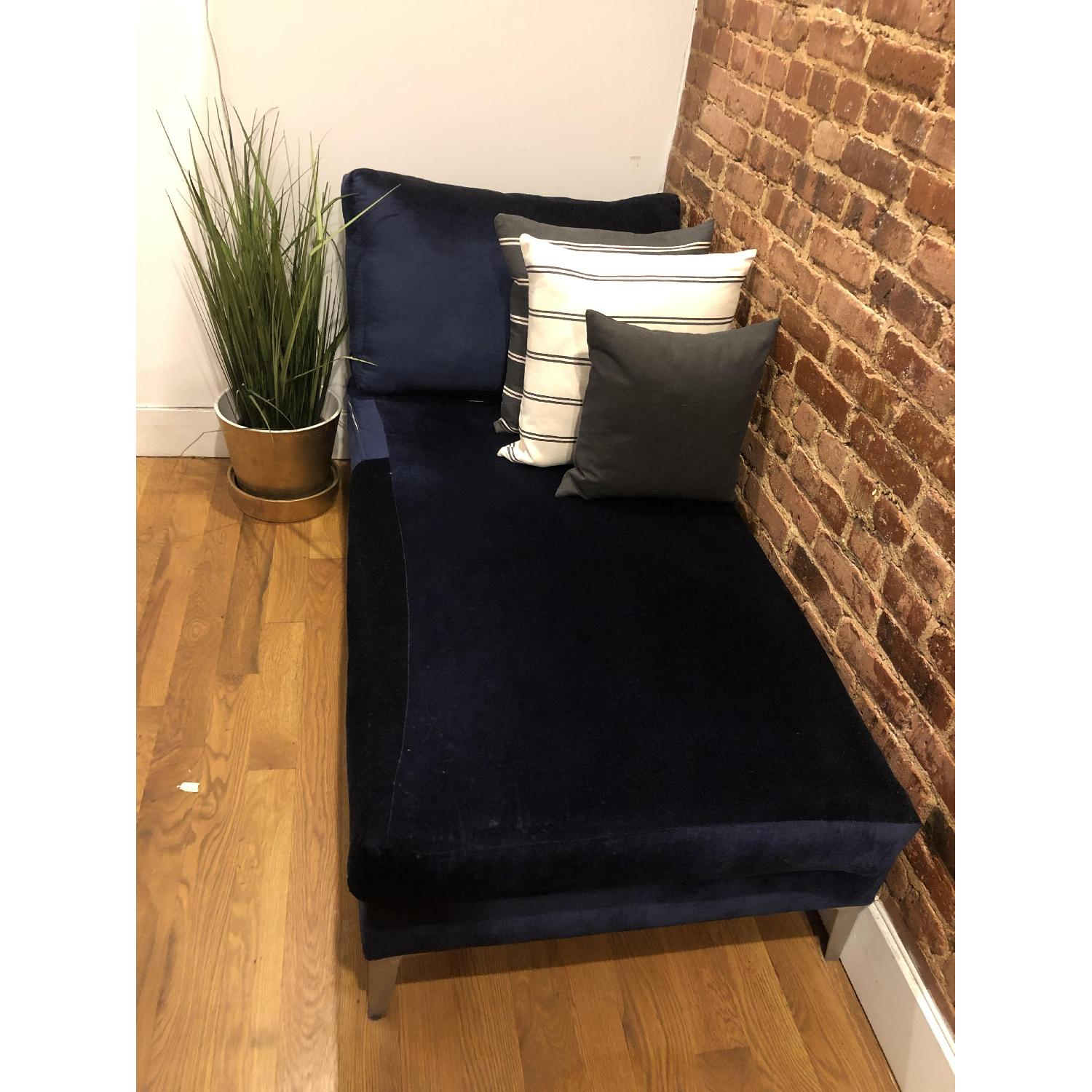 Ikea Custom Covered Midnight Blue Chaise - image-2