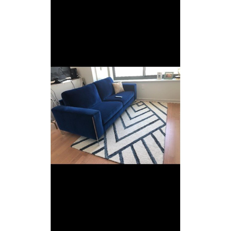 Macy's Cipolia Blue Velvet Sofa w/ Metal Inlays - image-1