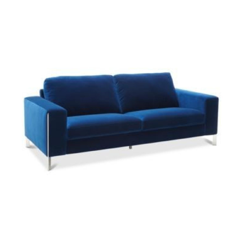 Macy's Cipolia Blue Velvet Sofa w/ Metal Inlays - image-4