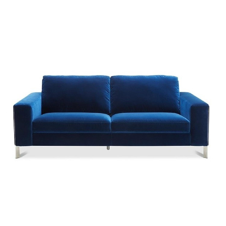 Macy's Cipolia Blue Velvet Sofa w/ Metal Inlays - image-0