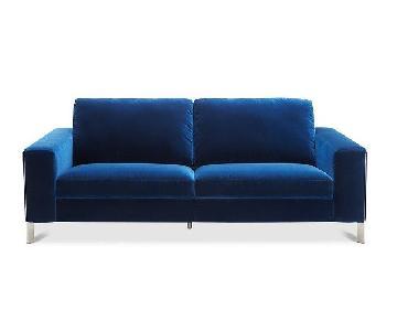 Macy's Cipolia Blue Velvet Sofa w/ Metal Inlays