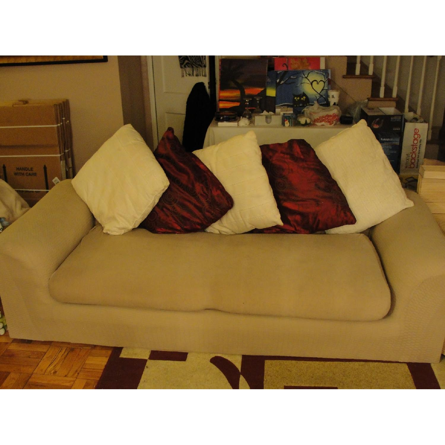 Beige 3-Piece Slipcovered Sectional Sofa - image-3