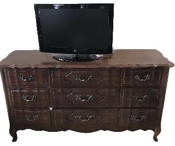 Antique Wood 9 Drawer Dresser