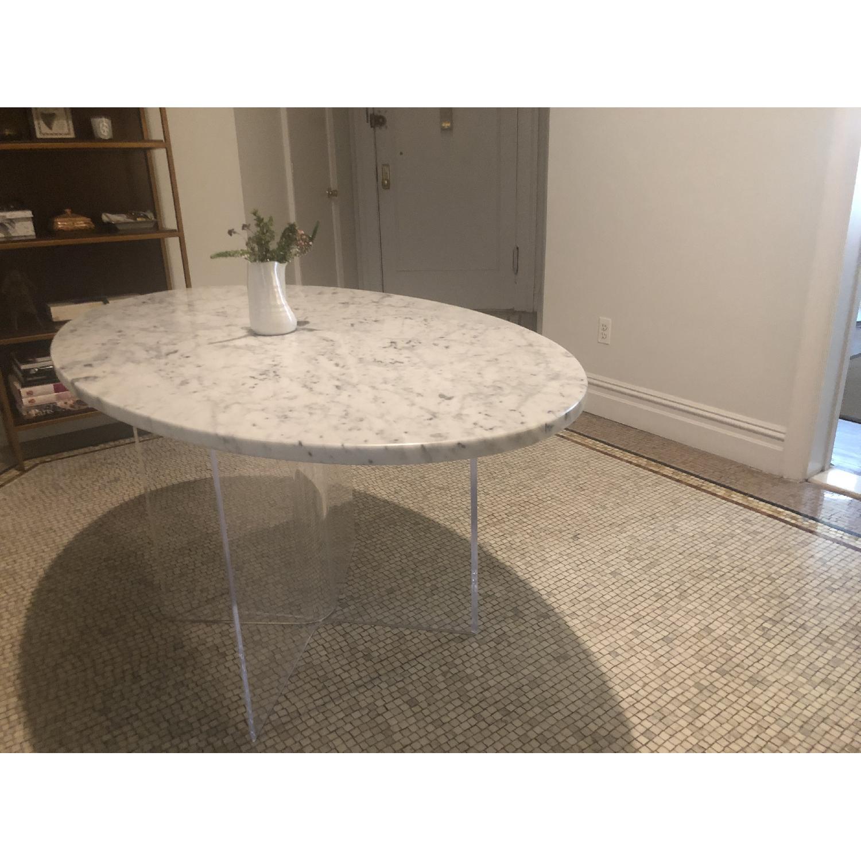 Mid Century Modern Marble Table w/ Plexiglass Base - image-1