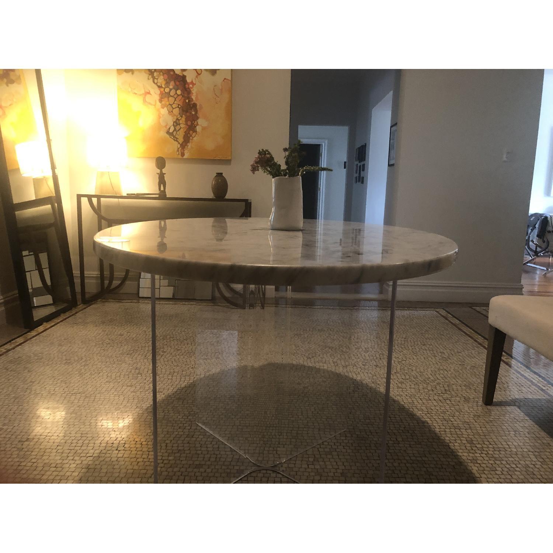 Mid Century Modern Marble Table w/ Plexiglass Base - image-2