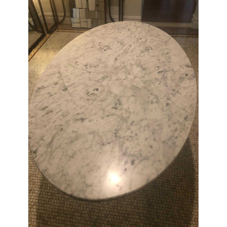 Mid Century Modern Marble Table w/ Plexiglass Base - image-3