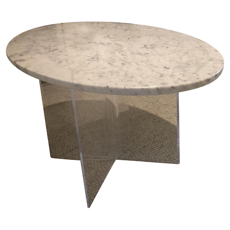 Mid Century Modern Marble Table w/ Plexiglass Base - image-0