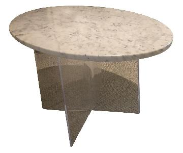 Mid Century Modern Marble Table w/ Plexiglass Base