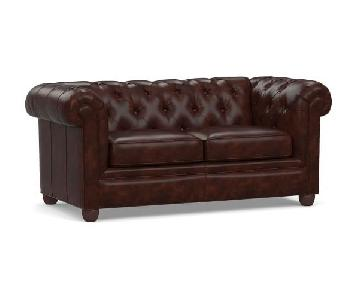 Pottery Barn Leather Sofa in Dark Brown