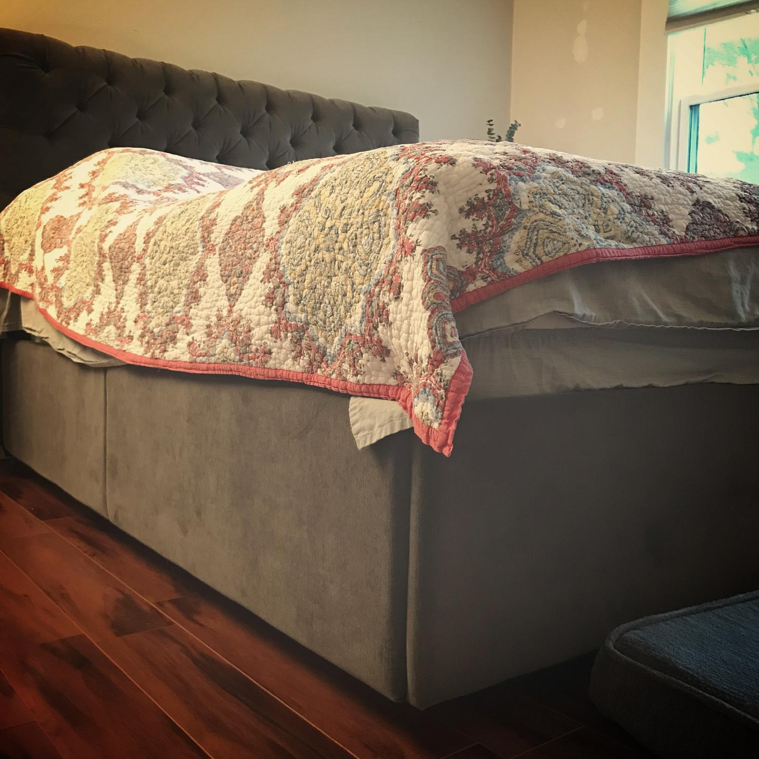Pottery Barn Chesterfield Queen Size Storage Bed - image-5