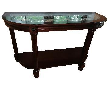 Raymour & Flanigan Glass Dark Wood Console Table