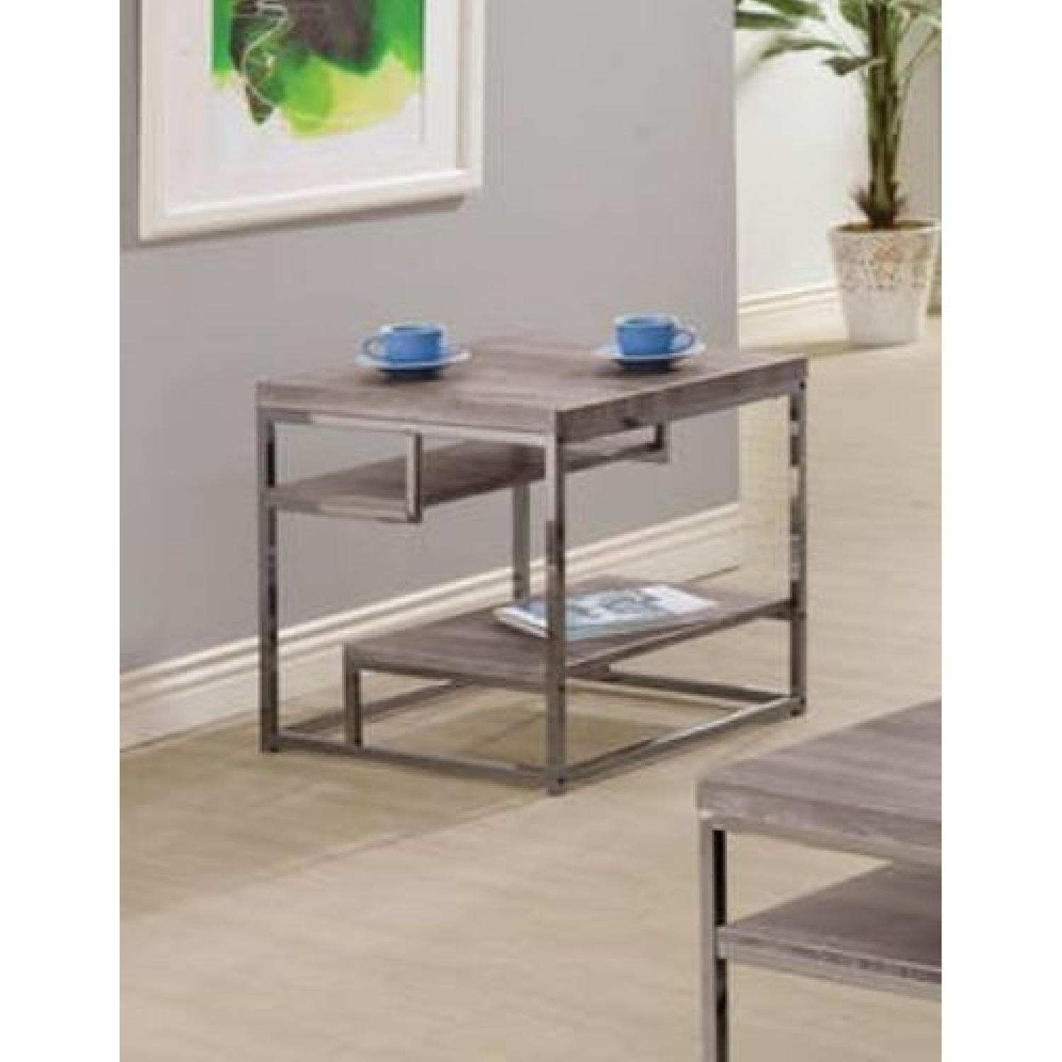 Withered Grey Contemporary Style End Table - image-1