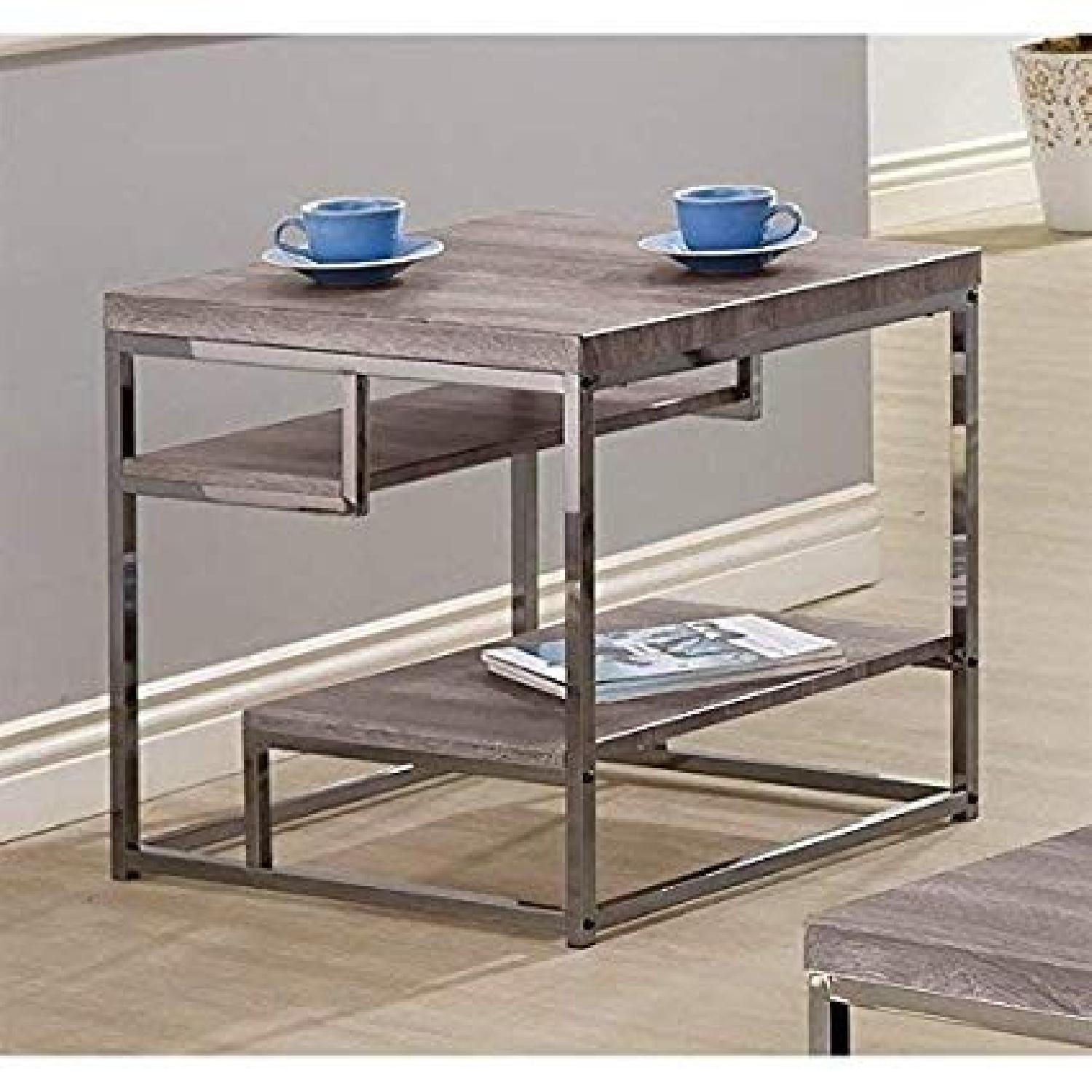 Withered Grey Contemporary Style End Table - image-2