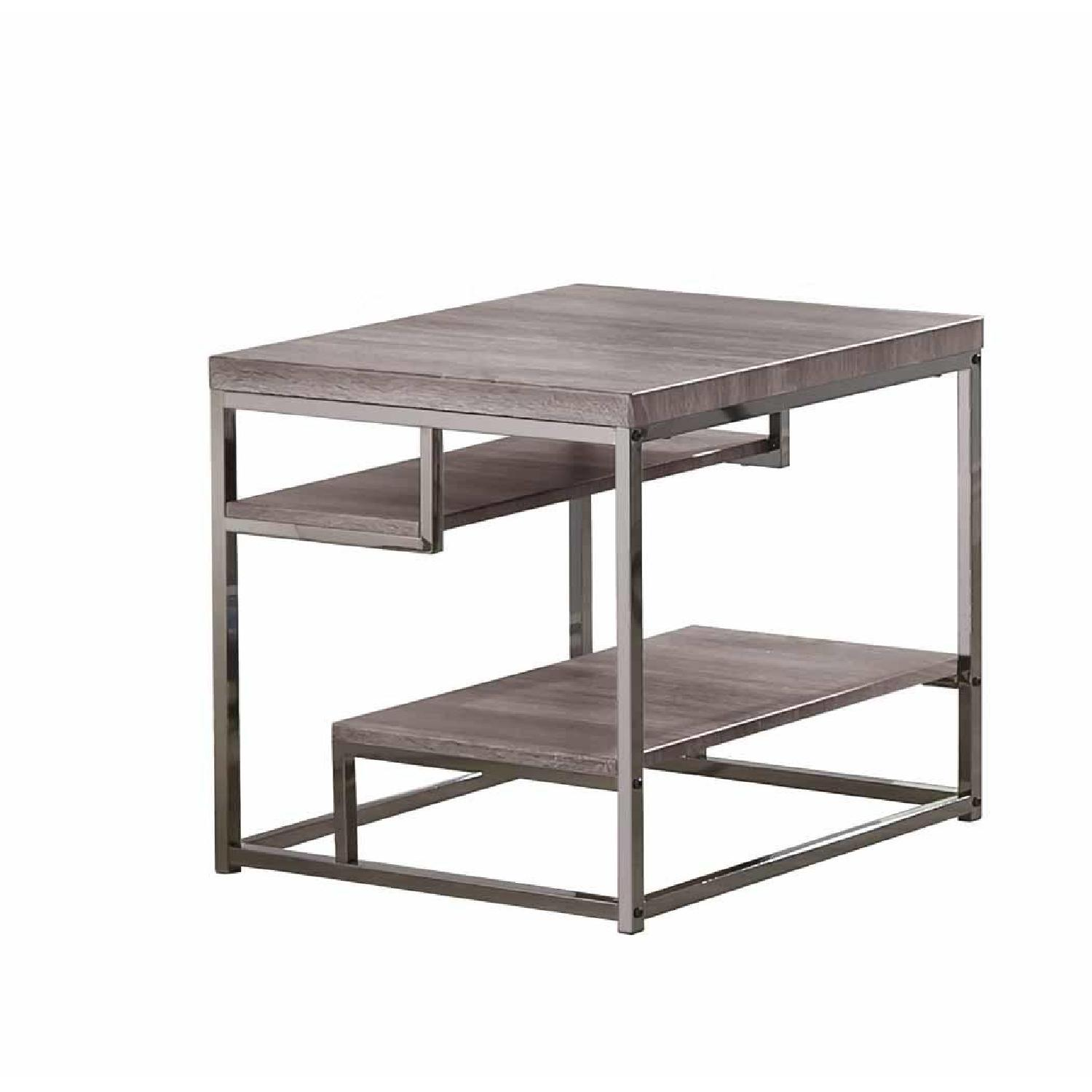Withered Grey Contemporary Style End Table - image-0