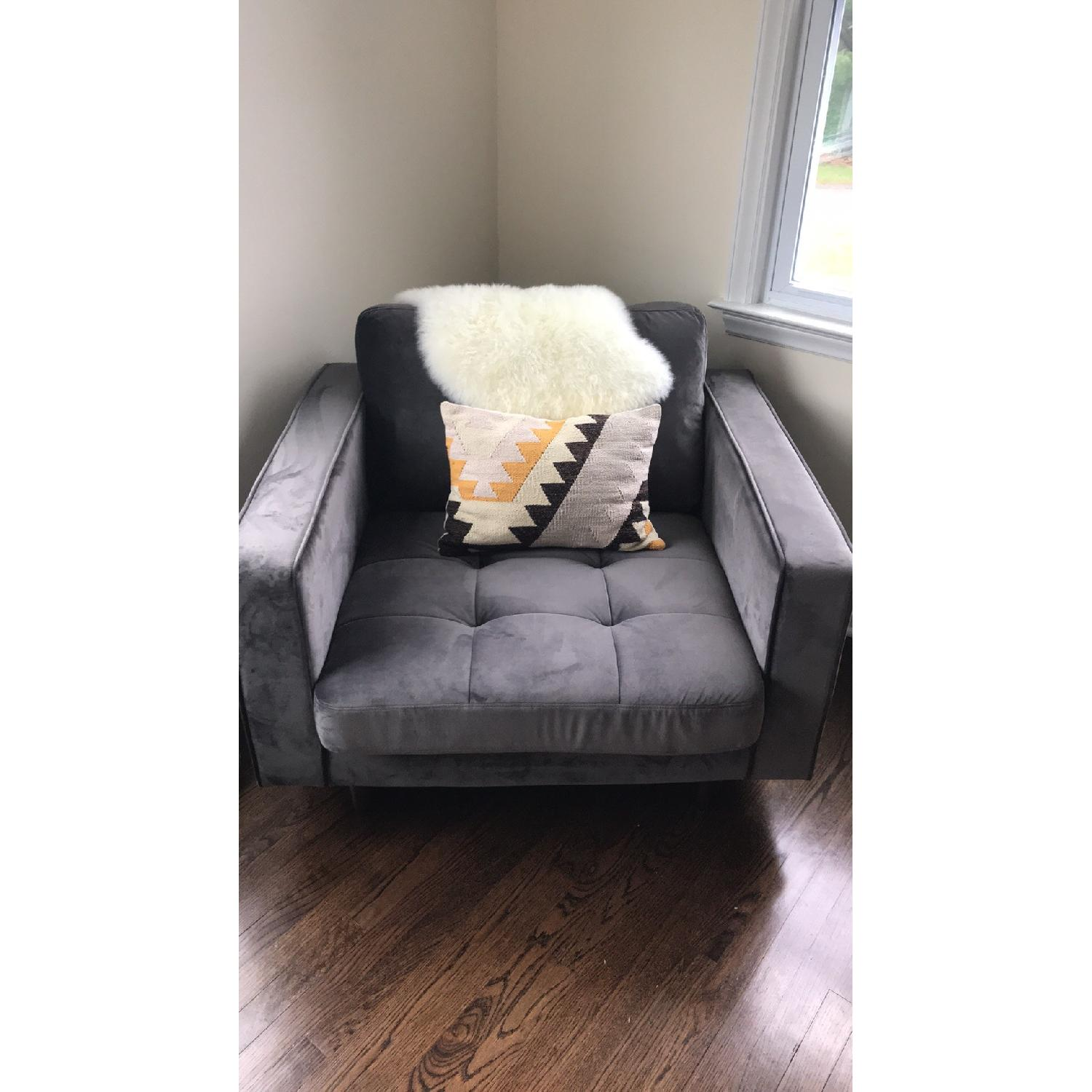 Poly and Bark Velvet Lounge Chair - image-6