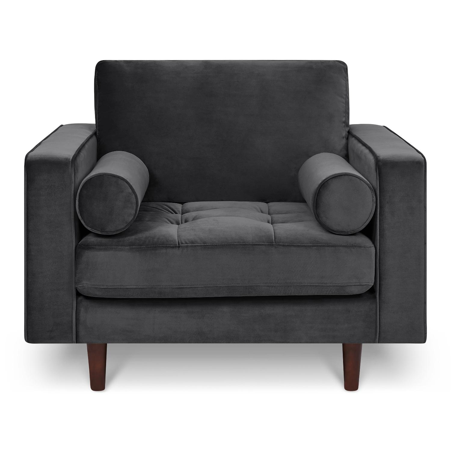 Poly and Bark Velvet Lounge Chair - image-0