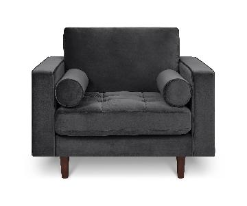 Poly and Bark Velvet Lounge Chair