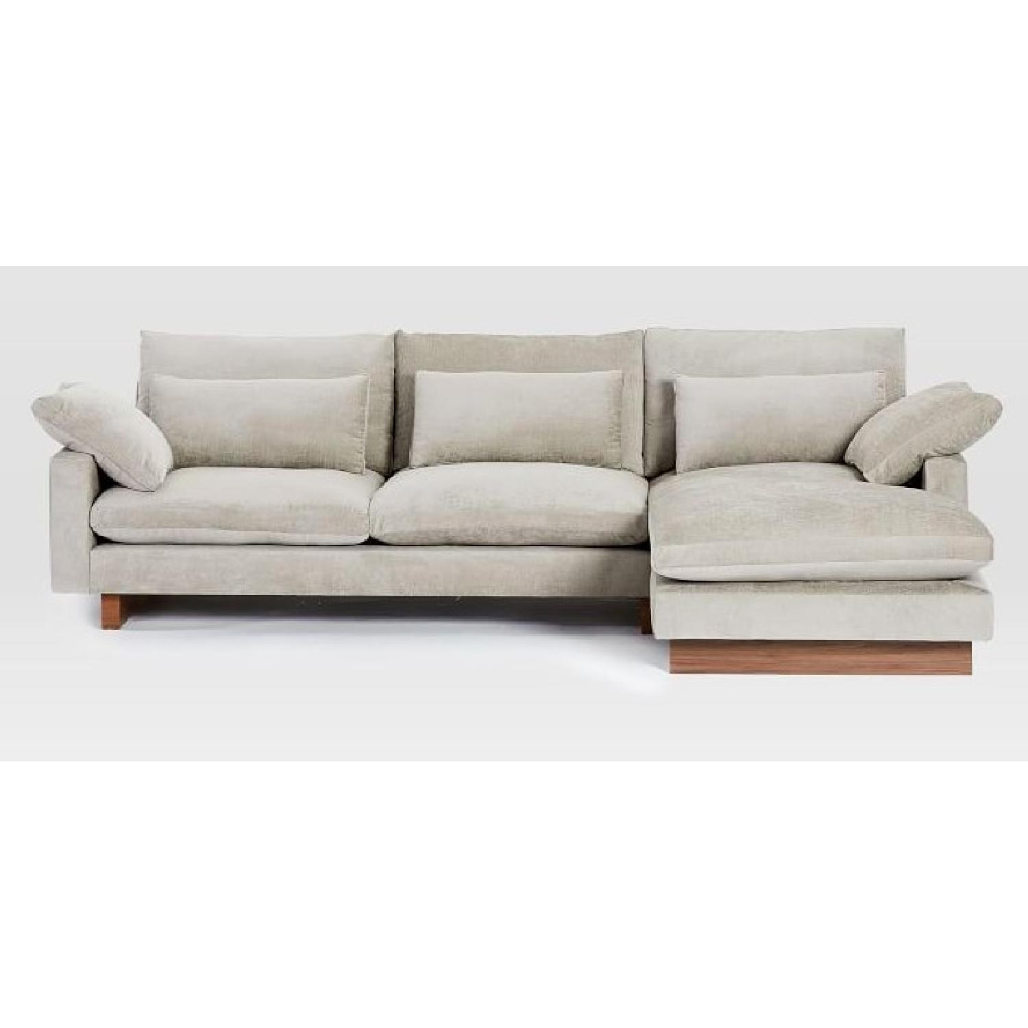 West Elm 2-Piece Large Chaise Sectional Sofa - image-1