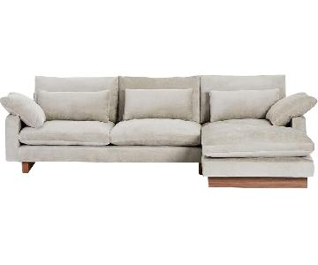 West Elm 2-Piece Large Chaise Sectional Sofa