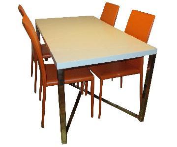 5 Piece Modern Dining Set in White & Orange