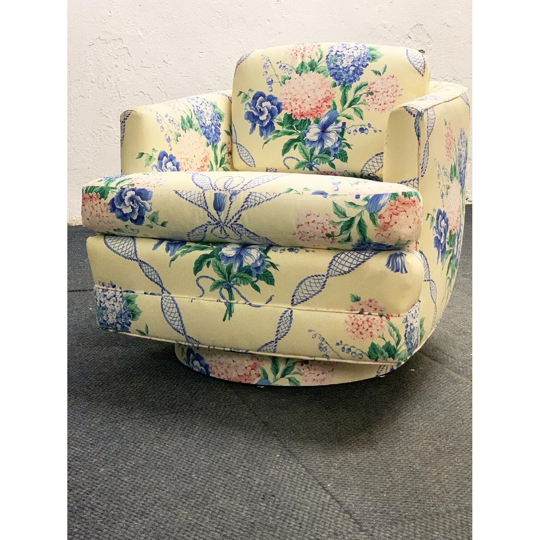 Brunschwig & Fils Floral French Swivel Club Chair - image-1
