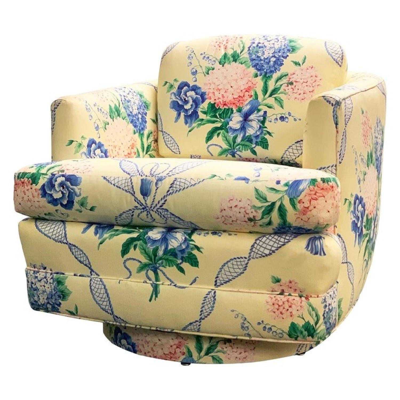 Brunschwig & Fils Floral French Swivel Club Chair - image-0