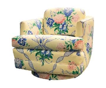 Brunschwig & Fils Floral French Swivel Club Chair