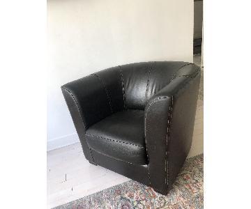 ABC Carpet and Home Vintage Italian Leather Armchair