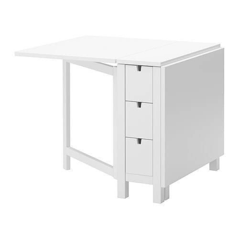 Ikea Norden White Gateleg Table - image-0