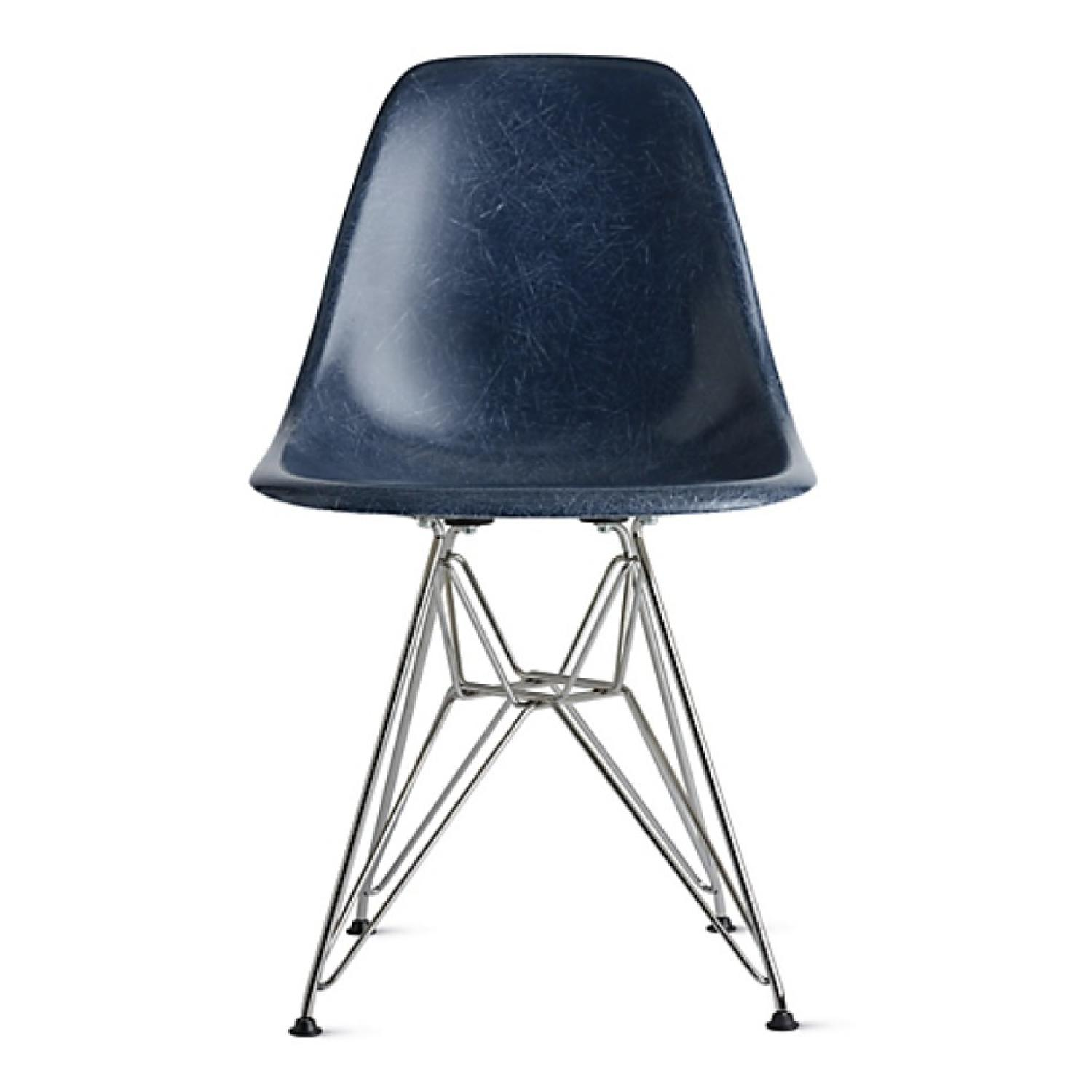 Eames Molded Fiberglass Wire-Base Side Chair in Navy - image-0