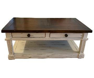 Custom Made Artisan Hardwood Coffee Table w/ 4 Drawers