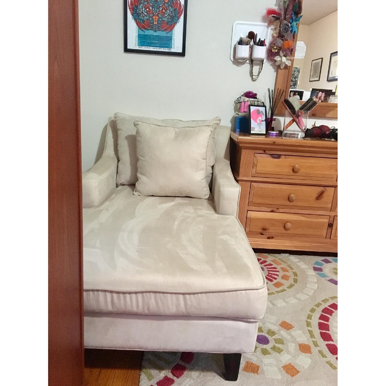 Cream Microfiber Classic Chaise Lounge in Cappuccino Finish - image-1