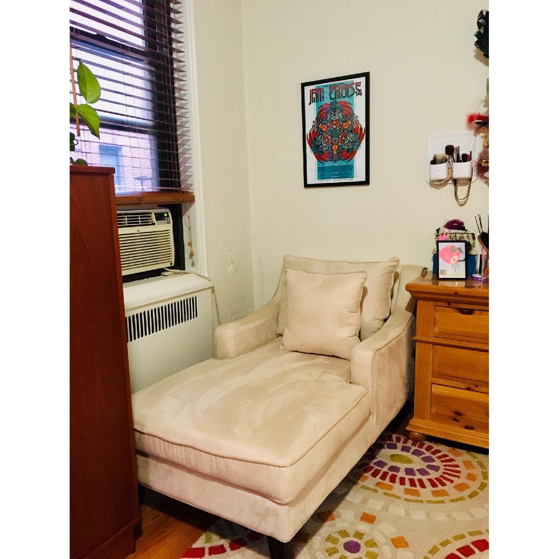 Cream Microfiber Classic Chaise Lounge in Cappuccino Finish - image-2