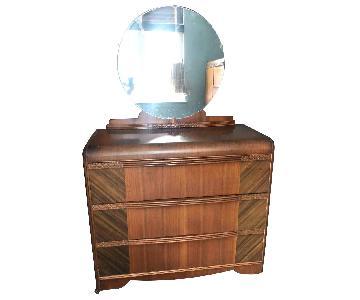 Antique 1940s Art Deco Waterfall Dresser w/ Mirror