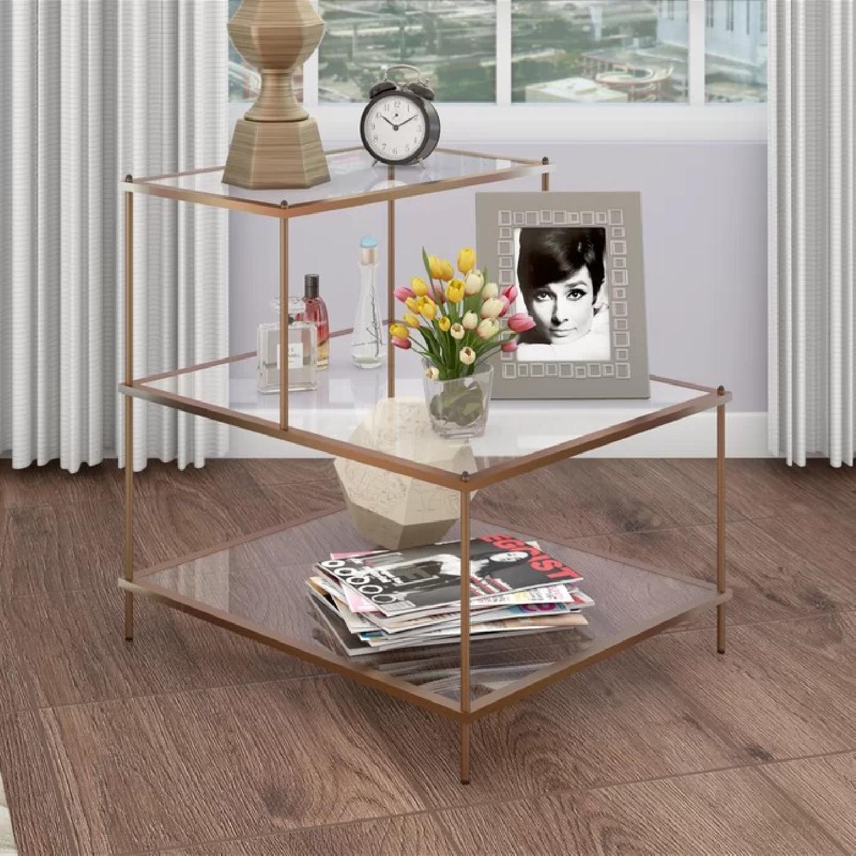 Willa Arlo Interiors Glass & Brass End Table - image-1