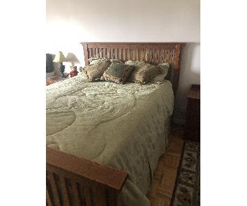 Mission Oak Queen Size Bed Frame w/ Headboard