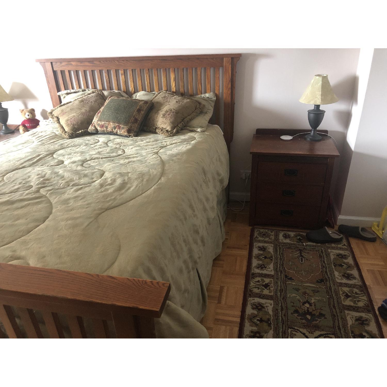 Mission Oak Queen Size Bed Frame w/ Headboard-0
