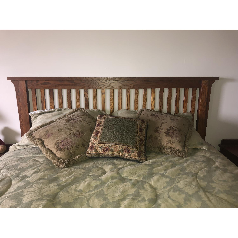 Mission Oak Queen Size Bed Frame w/ Headboard-1