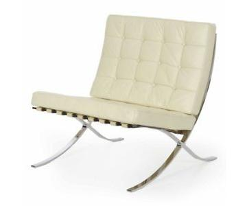 Knoll Barcelona Ivory Leather Chairs
