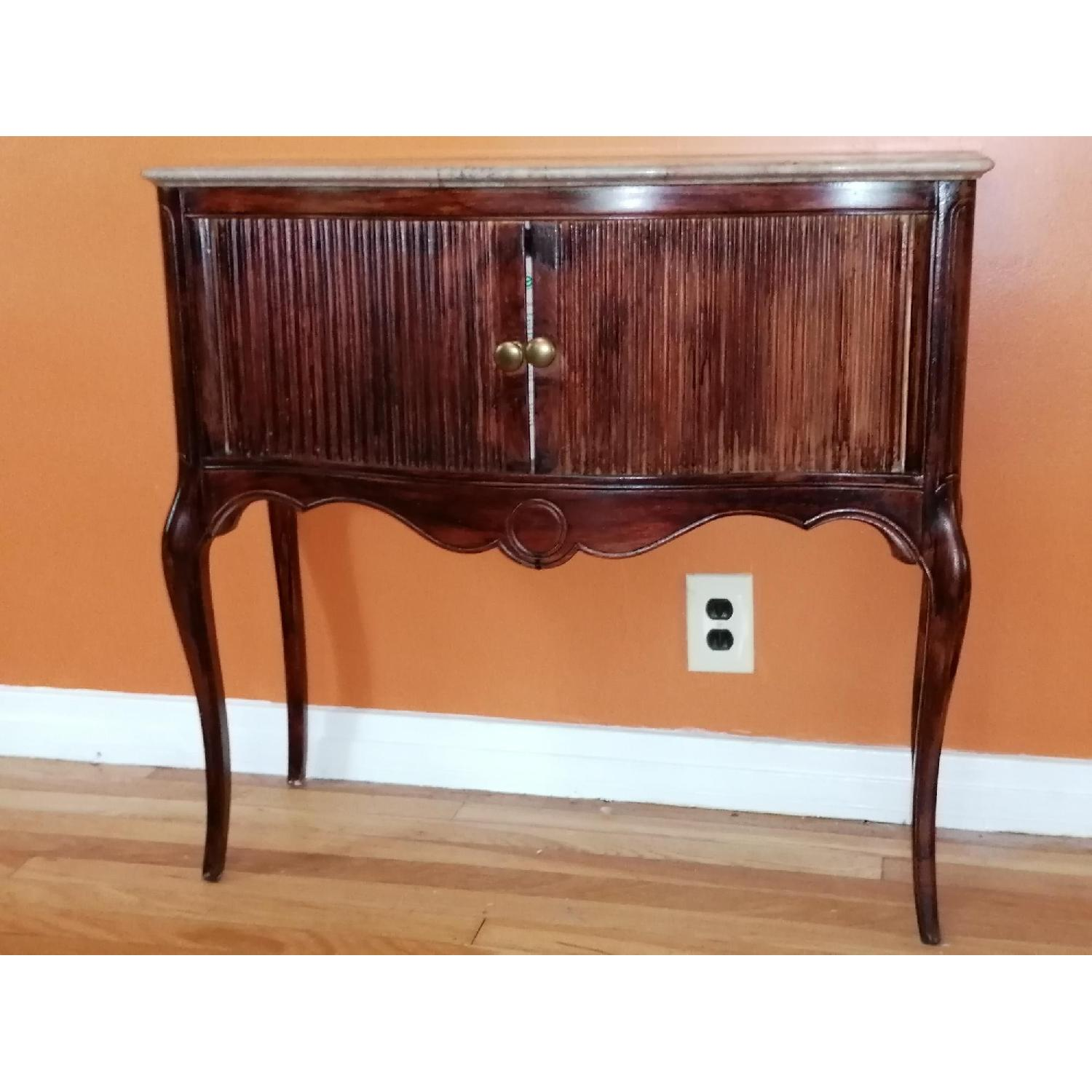 Vintage Rolling Accordion Door Cabinet/Side Table - image-1