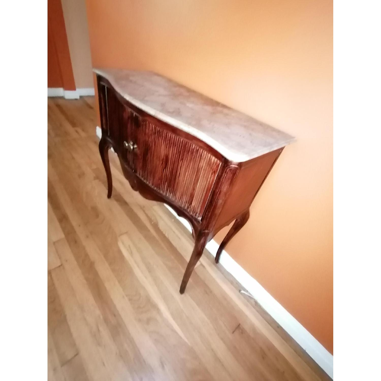 Vintage Rolling Accordion Door Cabinet/Side Table - image-2