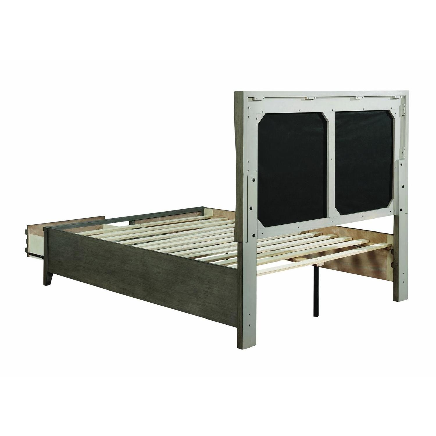 Queen Bed in Dark Taupe w/ 2 Storage Drawers - image-1