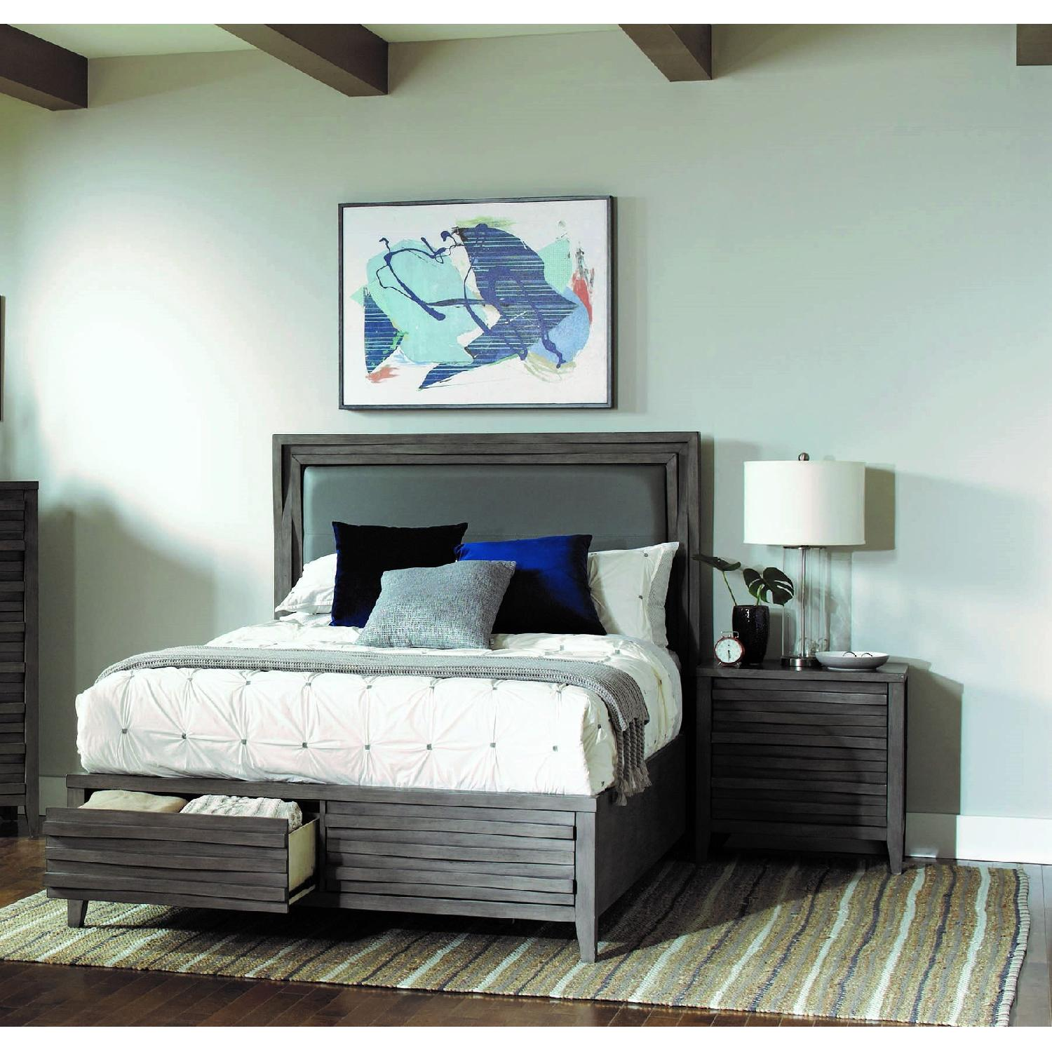 Queen Bed in Dark Taupe w/ 2 Storage Drawers - image-2