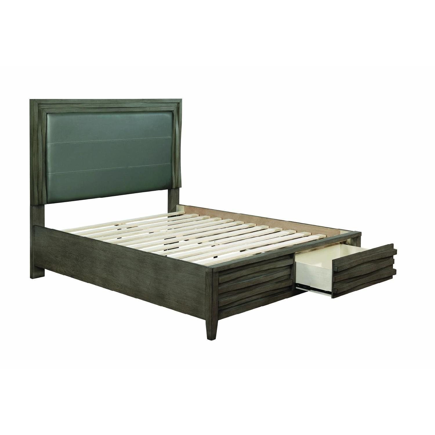 Queen Bed in Dark Taupe w/ 2 Storage Drawers - image-3