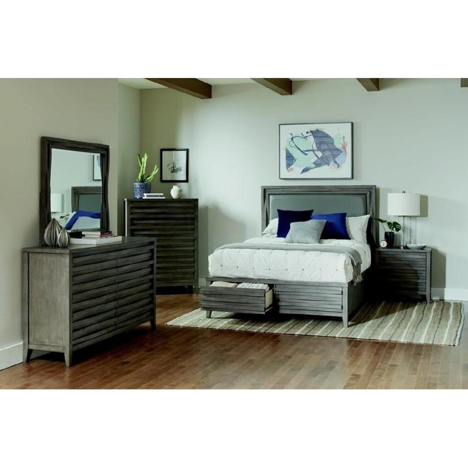 Queen Bed in Dark Taupe w/ 2 Storage Drawers - image-4